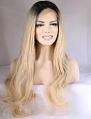 preiswerte Herrenmode Accessoires-Synthetische Lace Front Perücken Wellen Blond Synthetische Haare Gefärbte Haarspitzen (Ombré Hair) / Dunkler Haaransatz / Natürlicher Haaransatz Blond Perücke Damen Medium / Lang Spitzenfront
