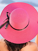cheap Fashion Hats-Women's Straw Hat - Solid Colored Bow Pure Color Stripe