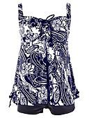 זול 2017ביקיני ובגדי ים-רגלו של הילד פרחוני, דפוס - טנקיני Bandeau כתפיה בגדי ריקוד נשים