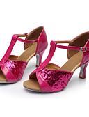 baratos Quartz-Mulheres Sapatos de Dança Latina Paetês Sandália Lantejoulas Salto Personalizado Personalizável Sapatos de Dança Fúcsia / Interior