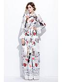 cheap Women's Dresses-STEPHANIE Women's Cute Flare Sleeve Swing Dress Mesh Print Maxi