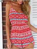 cheap Women's Jumpsuits & Rompers-Women's Holiday / Going out Street chic Romper V Neck / Summer