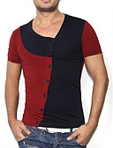 cheap Men's Tees & Tank Tops-Men's Chinoiserie Cotton T-shirt - Solid Colored Round Neck