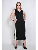 cheap Women's Dresses-Really Love Women's Club Cute T Shirt Tunic Black and White Dress - Color Block Patchwork V Neck