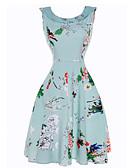 baratos Vestidos de Mulher-Mulheres Feriado / Praia Vintage Algodão Bainha / balanço Vestido Floral Decote Canoa Cintura Alta Altura dos Joelhos / Verão / Padrões florais