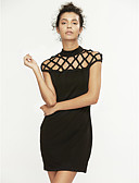 cheap Women's Dresses-Women's Cute Street chic A Line Dress - Solid Colored, Cut Out Crew Neck