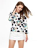 זול חולצה-דפוס יום יומי חולצה - בגדי ריקוד נשים Ruched / סתיו / דפוסי פרחים