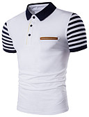 cheap Women's Pants-Men's Daily Active Plus Size Cotton Slim Polo - Striped Shirt Collar White / Short Sleeve / Summer