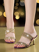 cheap Women's Dresses-Women's Shoes Microfiber Summer / Fall Sandals Walking Shoes Stiletto Heel Open Toe Rhinestone / Sparkling Glitter Gold / Black / Purple