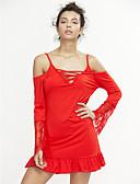 hesapli Kadın Elbiseleri-Kadın's Kulüp Flare Kol Kılıf Elbise - Kırk Yama, Dantel Arkasız Askılı Mini / Düşük Omuz