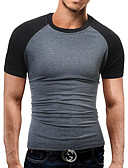cheap Men's Tees & Tank Tops-Men's Daily / Sports / Going out Casual / Active / Street chic Cotton / Polyester / Spandex Slim T-shirt - Color Block Black & Gray,