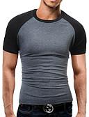 Χαμηλού Κόστους Ανδρικά μπλουζάκια και φανελάκια-Ανδρικά T-shirt Αθλητικά / Δουλειά / Κλαμπ Καθημερινό / Ενεργό / Κομψό στυλ street - Βαμβάκι Συνδυασμός Χρωμάτων Στρογγυλή Λαιμόκοψη Λεπτό Patchwork Μαύρο και γκρι / Κοντομάνικο