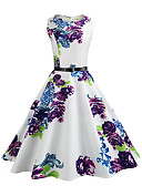 cheap Women's Dresses-Women's Vintage Cotton Sheath / Swing Dress - Floral Vintage Style