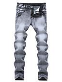 baratos Calças e Shorts Masculinos-Homens Moda de Rua Tamanhos Grandes Algodão Delgado Reto Delgado Jeans Calças - Sólido