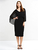 preiswerte Kleider in Übergröße-Damen Übergrössen Anspruchsvoll Aufflackern-Hülsen- Baumwolle Bodycon Kleid - Gitter, Solide Knielang V-Ausschnitt