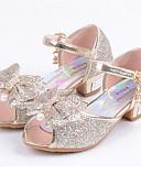 お買い得  イブニングドレス-女の子 靴 レザーレット 夏 コンフォートシューズ / フラワーガールシューズ フラット スパンコール のために シルバー / ブルー / ピンク / オープントゥ / ピープトウ