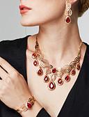 baratos Vestidos de Coquetel-Mulheres Ruby Sintético Com Corte Conjunto de jóias - Banhado a Ouro 18K, Strass Tema Flores, Flor Importante, Luxo, Boêmio Incluir Brincos Compridos Colares Declaração Anel de declaração Dourado Para