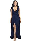 olcso Női ruhák-Női Extra méret Tengerpart Hüvely Swing Ruha - Fodrozott, Egyszínű Maxi Mély-V
