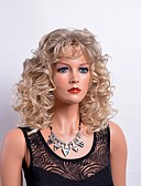 cheap Leather Band Watches-Synthetic Wig Curly Blonde With Bangs Synthetic Hair Blonde Wig Women's Medium Length Capless