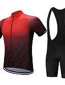 cheap Cycling Jersey & Shorts / Pants Sets-FUALRNY® Men's Short Sleeve Cycling Jersey with Bib Shorts - Black / Red Gradient Bike Clothing Suit Quick Dry Sweat-wicking Sports Polyester Coolmax® Silicon Gradient Mountain Bike MTB Road Bike