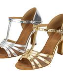 baratos Camisetas Femininas-Mulheres Sapatos de Dança Latina Couro Sintético Sandália Cruzado Salto Cubano Personalizável Sapatos de Dança Dourado / Prata