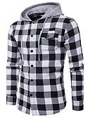 cheap Men's Shirts-Men's Street chic Shirt - Striped, Print Hooded