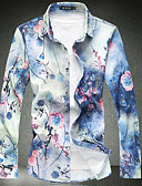 cheap Men's Shirts-Men's Cotton Slim Shirt - Floral Print Classic Collar / Long Sleeve