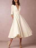 cheap Women's Dresses-Women's Plus Size Party / Going out A Line Dress - Solid Color White Deep V