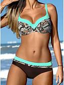 tanie Bikini i odzież kąpielowa 2017-Damskie Pasek Zielony Pomarańczowy Żółty Bandeau (opaska na biust) Dół typu Cheeky Bikini Stroje kąpielowe - Geometric Shape Nadruk L XL XXL / Seksowny