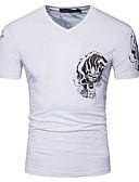preiswerte Herren T-Shirts & Tank Tops-Herrn Tier Baumwolle T-shirt, V-Ausschnitt / Kurzarm
