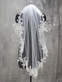 cheap Wedding Veils-One-tier Lace Applique Edge Wedding Veil Fingertip Veils 53 Appliques Lace Tulle