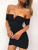 baratos Vestidos de Mulher-Mulheres Evasê Vestido Sólido Decote V Acima do Joelho Preto