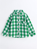 cheap Boys' Clothing-Boys' Houndstooth Shirt, Cotton Spring Fall Long Sleeves Green