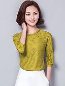 baratos Blusas Femininas-Mulheres Blusa Sólido Poliéster