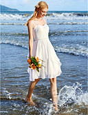 cheap Wedding Dresses-A-Line Spaghetti Strap Knee Length Chiffon Made-To-Measure Wedding Dresses with Beading / Sash / Ribbon / Ruched by LAN TING BRIDE®