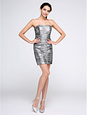 preiswerte Cocktailkleider-Eng anliegend Trägerlos Kurz / Mini Polyester Cocktailparty Kleid mit Perlenstickerei / Gerafft durch TS Couture®