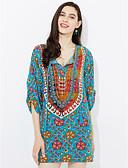 baratos Vestidos de Mulher-Mulheres Moda de Rua Bainha Vestido - Estampado, Floral Altura dos Joelhos