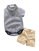 cheap Men's Shirts-Baby Children's Birthday Party / Evening Outdoor Casual/Daily Going out Holiday Stripe Clothing Set, Cotton Polyester Autumn/Fall Summer