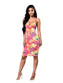 cheap Women's Dresses-Women's Club / Beach Boho Bodycon Dress - Floral Backless / Printing Strap