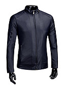 cheap Men's Jackets & Coats-Men's Daily Fall / Winter Plus Size Short Leather Jacket, Solid Colored Stand Long Sleeve PU Blue / Black / Wine XL / XXL / XXXL