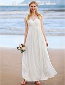 cheap Wedding Dresses-A-Line Jewel Neck Ankle Length Chiffon / Lace Over Tulle Made-To-Measure Wedding Dresses with Appliques / Criss Cross / Ruched by LAN