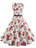 cheap Vintage Dresses-Women's Party Vintage / Street chic Swing Dress - Floral White, Vintage Style