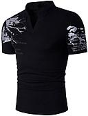 baratos Camisetas & Regatas Masculinas-Homens Camiseta Estampado Algodão Colarinho Chinês