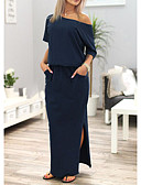 cheap Women's Dresses-Women's Casual Street chic Loose Dress - Solid Colored Simple, Stylish Split Maxi Off Shoulder