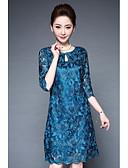baratos Vestidos de Mulher-Mulheres Tamanhos Grandes Bainha Vestido Bordado Colarinho Chinês Altura dos Joelhos Azul