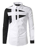 cheap Men's Shirts-Men's Boho Cotton Shirt - Patchwork Patchwork Classic Collar / Long Sleeve
