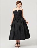 cheap Cocktail Dresses-Plus Size Ball Gown Notched Tea Length Taffeta Little Black Dress / Open Back Prom / Formal Evening Dress with Sash / Ribbon / Ruched / Pleats by TS Couture®