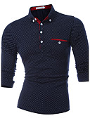 cheap Men's Polos-Men's Sports Active Cotton Slim Polo - Polka Dot Shirt Collar / Long Sleeve