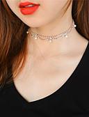 hesapli Tişört-Kadın's Obsidyen Gerdanlıklar Püskül Bayan Püskül Moda sevimli Stil İmitasyon İnci Bakır Yapay Elmas Altın Gümüş Kolyeler Mücevher Uyumluluk Parti / Gece Günlük Gece Partisi