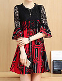 baratos Vestidos Plus Size-Mulheres Moda de Rua Tamanhos Grandes Calças - Floral Vermelho / Festa / Solto